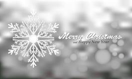 Vrolijke Kerstmis zilveren achtergrond met sneeuwvlok Stock Foto