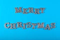 Vrolijke Kerstmis zilveren tekst royalty-vrije stock foto's