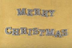 Vrolijke Kerstmis zilveren tekst royalty-vrije stock afbeelding