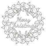 Vrolijke Kerstmis zwart-witte affiche met hulstbessen en boomtakken Stock Foto