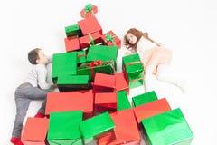 Vrolijke Kerstmis 2016 Zwarte vrijdag Leuke kleine jonge geitjes Royalty-vrije Stock Afbeelding