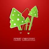 Vrolijke Kerstmisachtergrond met bomen Stock Afbeeldingen