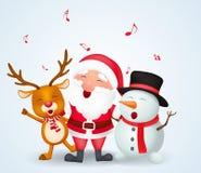 Vrolijke Kerstmisachtergrond met de Kerstman, sneeuwman en rendier Stock Afbeeldingen