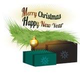 Vrolijke Kerstmisachtergrond met decoratie en tekst - Gelukkig Nieuwjaar Stock Foto's