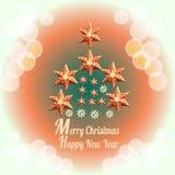 Vrolijke Kerstmisachtergrond met decoratie en tekst - Gelukkig Nieuwjaar Stock Fotografie