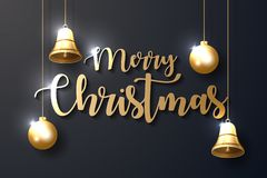 Vrolijke Kerstmisachtergrond met glanzende gouden ornamenten stock illustratie