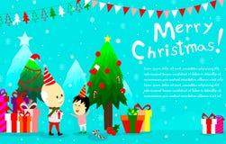 Vrolijke Kerstmisachtergrond met jongen en oldman, gelukkige officiële feestdag stock afbeeldingen