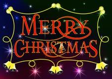 vrolijke Kerstmisachtergrond met klokken en lampen royalty-vrije illustratie