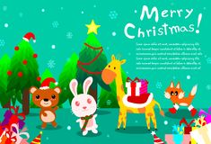 Vrolijke Kerstmisachtergrond met leuk dier bij bos, gelukkige officiële feestdag royalty-vrije stock foto
