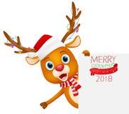 Vrolijke Kerstmisachtergrond met Leuk Rendier Stock Fotografie
