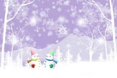 Vrolijke Kerstmisachtergrond met paarsneeuwman - Grafische textuur van het schilderen technieken Royalty-vrije Stock Afbeelding