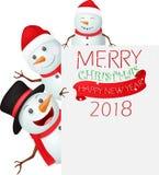 Vrolijke Kerstmisachtergrond met sneeuwmanfamilie Stock Afbeelding