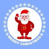 Vrolijke Kerstmisaffiche met Santa Claus op een blauwe achtergrond De groetkaart van de vakantie Vector illustratie vector illustratie