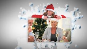 Vrolijke Kerstmisanimatie over oudsten die een dinerpartij hebben stock footage