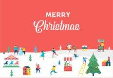 Vrolijke Kerstmisbanner, achtergrond en minimalistische groetkaart Royalty-vrije Stock Afbeeldingen