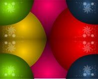 Vrolijke Kerstmisbanner, achtergrond, nieuw jaar, nieuwe jaarballen, vorst, sneeuwvlokken, viering, congrats, stock illustratie
