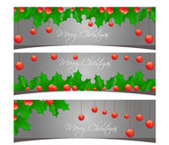 Vrolijke Kerstmisbanners geplaatst ontwerpillustratie Royalty-vrije Stock Afbeelding