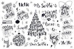 Vrolijke Kerstmiscitaten die vastgesteld Gelukkig Nieuwjaar 2018 van letters voorzien Typografieontwerpen vector illustratie