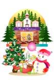 Vrolijke Kerstmisdecoratie met de Kerstman op witte achtergrond - Creatieve illustratie eps10 Royalty-vrije Stock Afbeeldingen