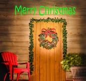 Vrolijke Kerstmisdeur Stock Afbeeldingen