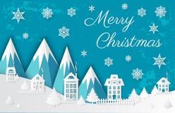 Vrolijke Kerstmisdocument Besnoeiing, Bergen en Stad stock illustratie