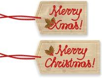 Vrolijke Kerstmisetiketten Stock Foto's