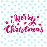 Vrolijke Kerstmishand - gemaakte aardige kaart Het ontwerp van de Kerstmisvakantie voor prentbriefkaar, verpakking, druk Met de h royalty-vrije illustratie