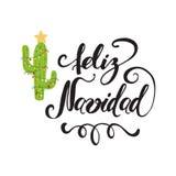 Vrolijke Kerstmishand getrokken druk Gelukkige Cactus Royalty-vrije Stock Foto