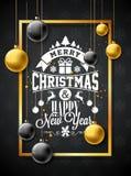 Vrolijke Kerstmisillustratie met Gouden van de van de Glasbal, Ster en Typografie Elementen op Zwarte Achtergrond Vectorvakantie vector illustratie
