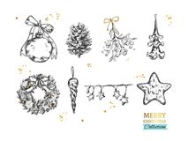 Vrolijke Kerstmisinzameling met vectorhand getrokken illustraties Kerstmisbal, Sparrenkegel, Maretak, Bevroren Ster, Lichten, C royalty-vrije illustratie