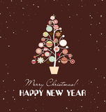 Vrolijke Kerstmiskaart met Kerstmisbomen Royalty-vrije Stock Afbeeldingen