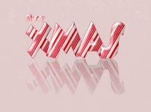 Vrolijke Kerstmiskerstmis van het suikergoedriet met bezinning Royalty-vrije Stock Afbeeldingen