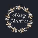 Vrolijke Kerstmiskroon met bladeren en bloemenpatronen royalty-vrije stock afbeeldingen