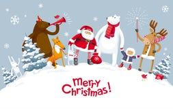 Vrolijke Kerstmispartij in het bos vector illustratie