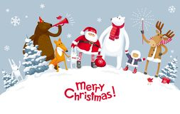 Vrolijke Kerstmispartij in het bos Royalty-vrije Stock Foto