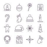 Vrolijke Kerstmispictogrammen royalty-vrije illustratie
