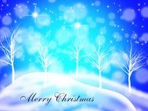 Vrolijke Kerstmisprentbriefkaar met een dromerige sterrige nachtachtergrond Royalty-vrije Stock Foto's
