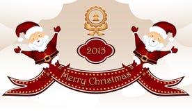 Vrolijke Kerstmisprentbriefkaar met twee Santa Clauses Stock Foto's