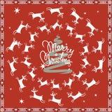 Vrolijke Kerstmisprentbriefkaar met vliegende herten Stock Foto