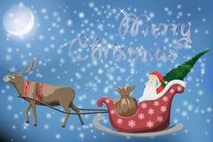 Vrolijke Kerstmisprentbriefkaar met vliegende Santa Claus Royalty-vrije Stock Foto's