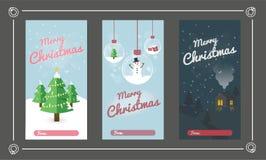 Vrolijke Kerstmisreeks De inzamelingen van de groetkaart met Kerstmiselementen Vector illustratie royalty-vrije illustratie