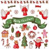 Vrolijke Kerstmisreeks Het kalligrafische Van letters voorzien op groen lint Stock Foto