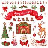 Vrolijke Kerstmisreeks Inzameling in schetsstijl die wordt getrokken Stock Afbeelding