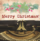 Vrolijke Kerstmisschrijfmachine Stock Afbeelding