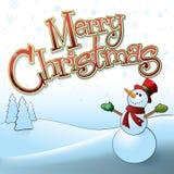 Vrolijke Kerstmissneeuwman Royalty-vrije Stock Afbeeldingen