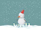 Vrolijke Kerstmissneeuwman Stock Afbeeldingen