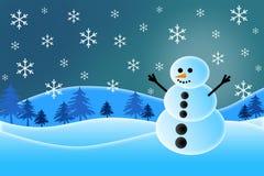 Vrolijke Kerstmissneeuwman Stock Foto