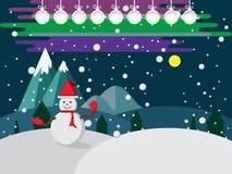 Vrolijke Kerstmissneeuwman in hoed en handschoenrood op van de de achtergrond winternacht Vector royalty-vrije stock foto's