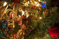 Vrolijke Kerstmistekst bij een tak van nieuwe jaarboom royalty-vrije stock foto's