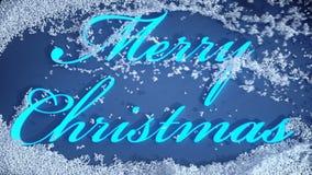 Vrolijke Kerstmistekst die van onder sneeuw verschijnen stock videobeelden